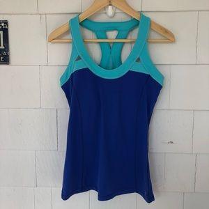 ALO Yoga Blue Two Tone Tank Top